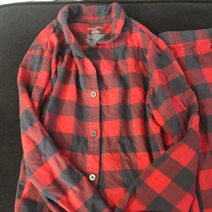 Plaid gray and red pajamas winter fall